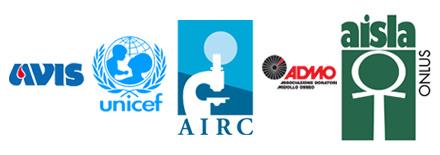 I partner dell'iniziativa: avis, unicef, airc, admo, aisla