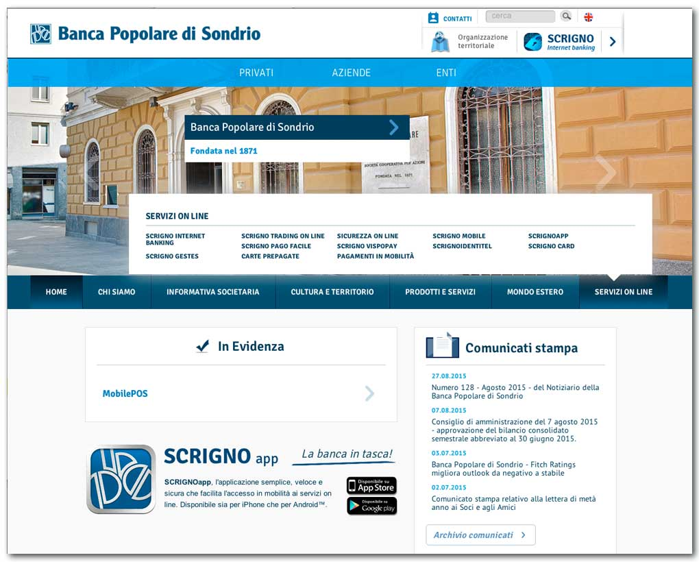 Nuova home page del sito popso.it